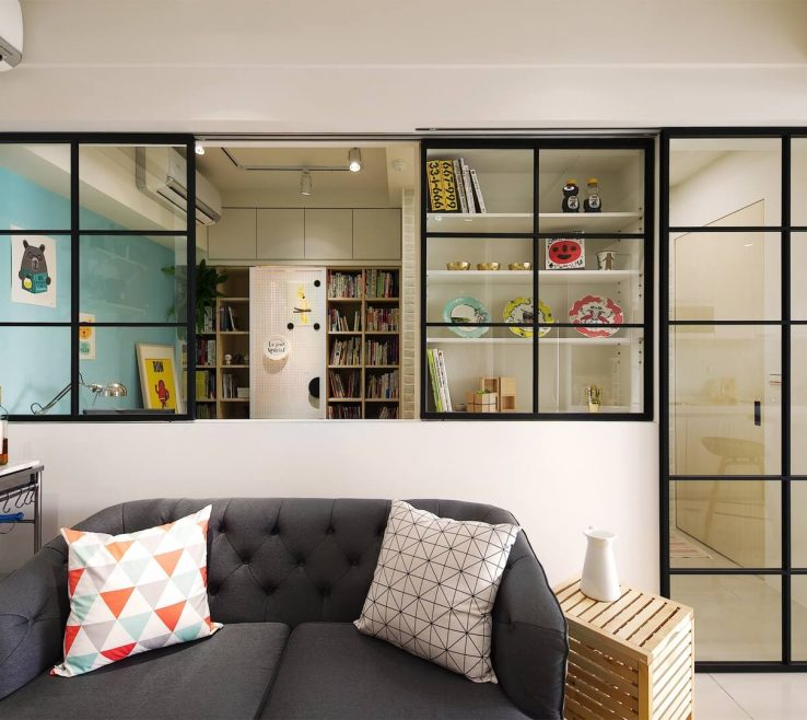 Enthralling Small Space Living Room Of Taiwanese Apartment With Steel Frame Crittal Windows