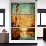 Enthralling Wall Art For Living Room Of Piece Printed Canvas Tic Guitar Lovers