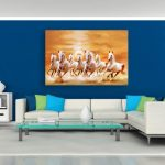 Enthralling Wall Paintings For Living Room Of Canvas Painting Horses Running Vastu