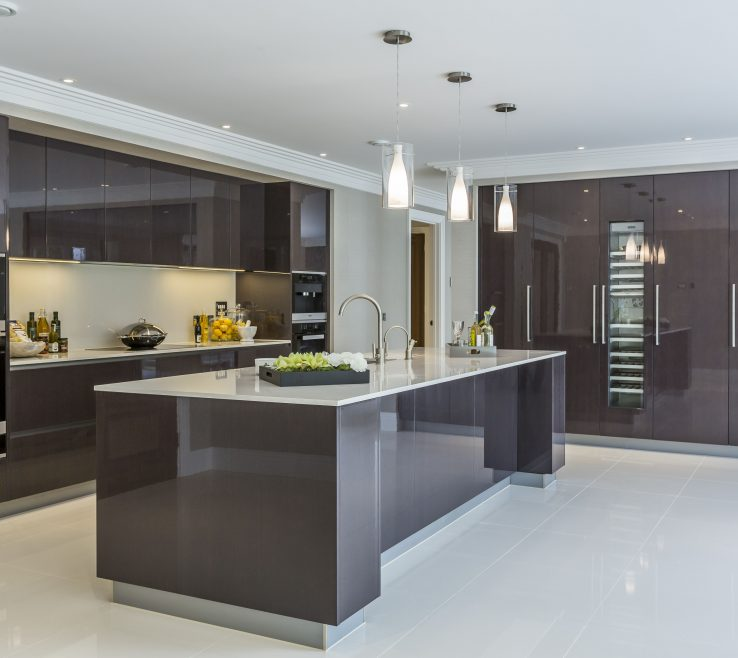 Exquisite Contemporary Kitchen Design Of Extreme Minimal High Gloss In Private Mansion