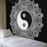 Extraordinary Bedroom Wall Tapestry Of Conceptreview Black And White Tapestry Yinyang Hanging