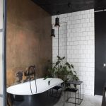 Extraordinary Black Bathroom Walls Of And White With Copper Wall // Plants//