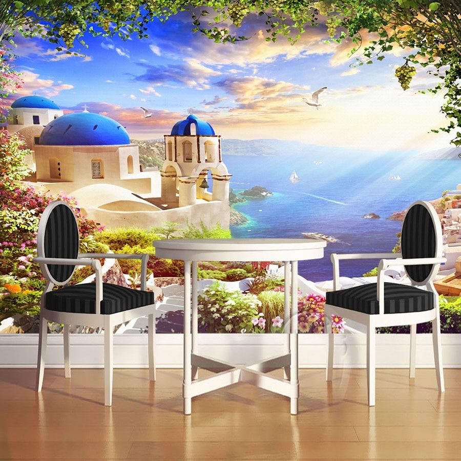 Extraordinary Living Room Wall Murals Of Custom D Photo Wallpaper Aegean Romantic Castle