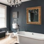 Fascinating Black Bathroom Walls Of Nice With And Chandelier Over Mat