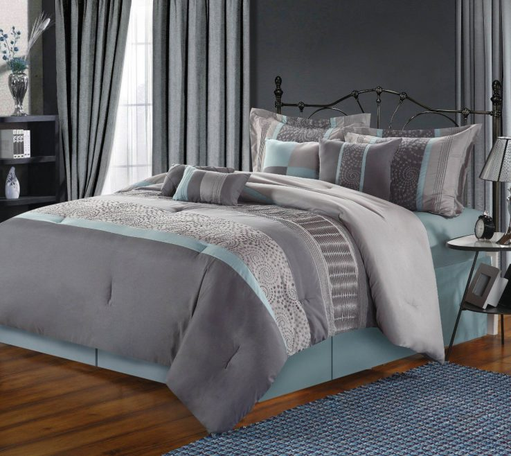 Fascinating Blue And Grey Bedroom Of Conceptreview Chic Home Piece Euphoria Embroidered