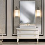 Impressing Bathroom Wall Sconce Lighting Of Intriguing Side Mirror Double With Superbealing White