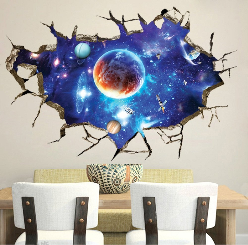 Impressive Childrens Bedroom Wall Stickers Removable Of Livegallery Pvc D Outer Space Moon