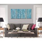 Impressive Wall Art For Living Room Of Cubism Canvas Print Panels Blue Abstract