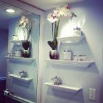 Inspiring Bathroom Wall Shelves Of Stunning Modern Idea With Large Mirror