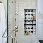 Likeable Bathroom Tile Ideas Of Modern Parquet Inlaid Shelving Unit