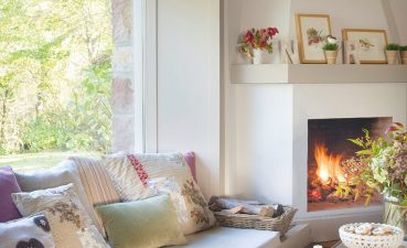 Living Room Ideas With Fireplace Of Cozy And Low Sofa Under Window