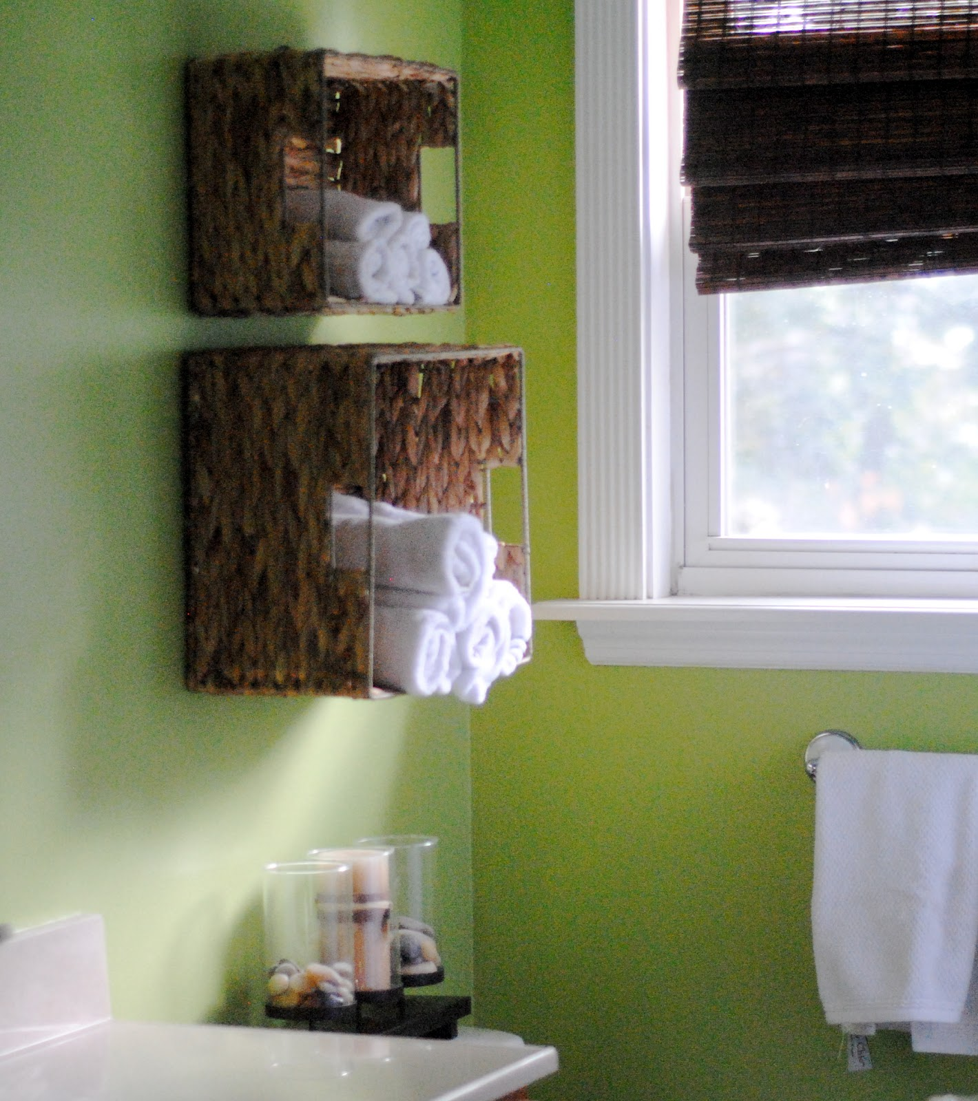 Lovely Bathroom Wall Baskets Of Easy Towel Storage Idea