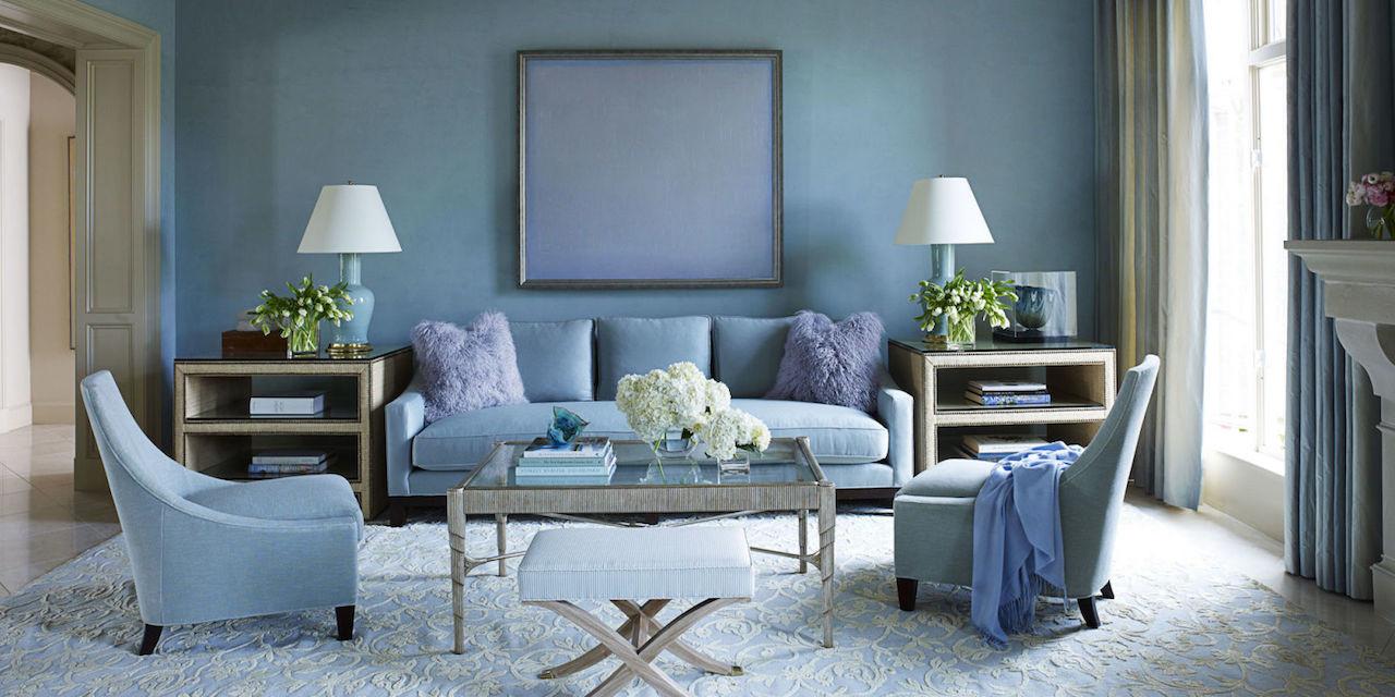 Lovely Blue Living Room Walls Of Ian Plaster