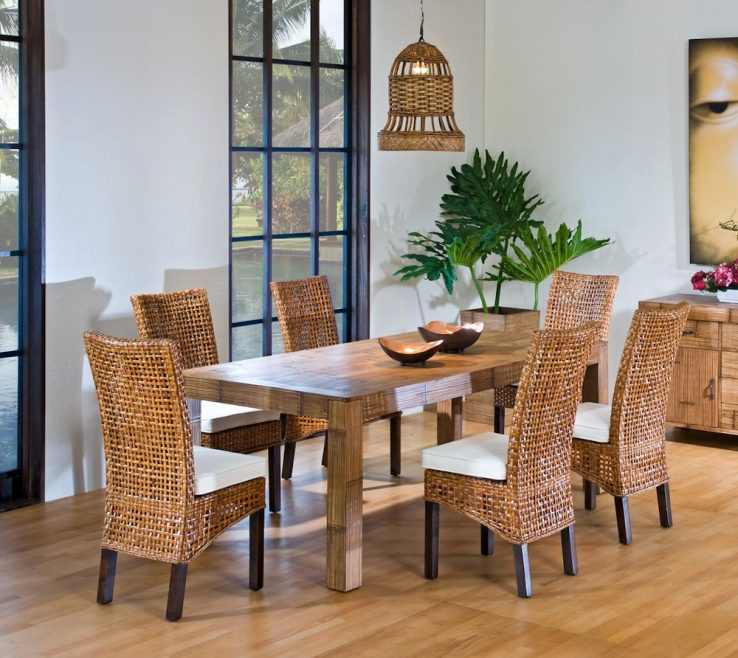 Lovely Dining Table With Different Chairs Of Bamboo And Price
