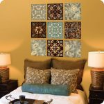 Magnificent Bedroom Wall Decorations Of Kaleidoscope Tiles In Floral Design