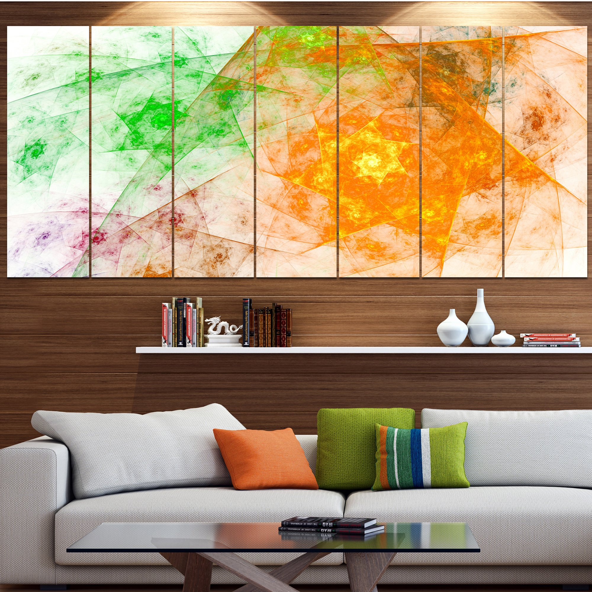 Mesmerizing Abstract Wall Art For Living Room Of Shop Designart Green Yellow Rotating Polyhedron