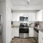 Mesmerizing Apartment Kitchen Of Upgraded With White Flat Front S