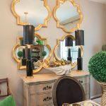 Mirrored Walls In Living Rooms Of Alluring And Gold Quatrefoil Mirrors