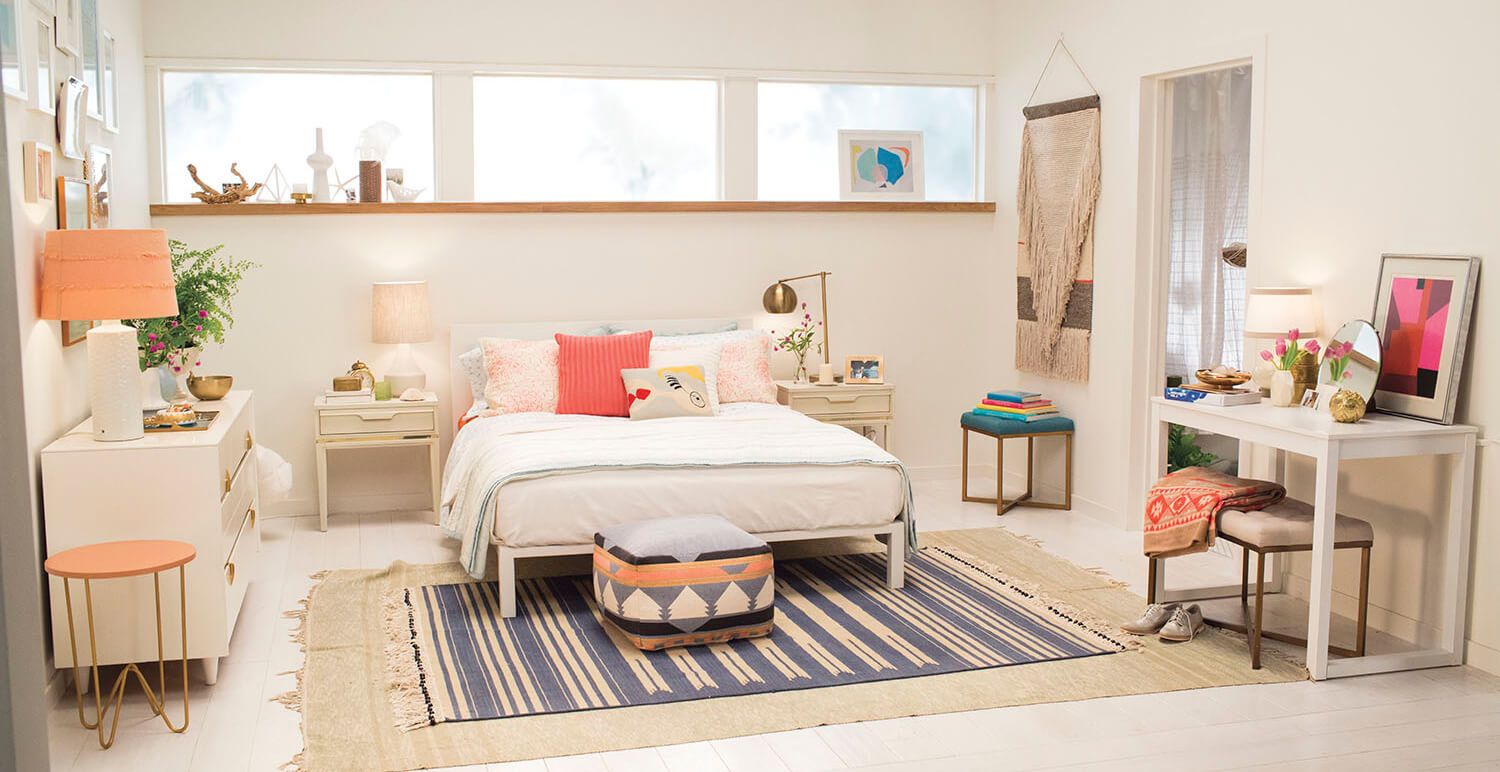 Picturesque Blue Accent Wall Bedroom Of Target Emily Henderson Bedroom White Orange Casual Calm