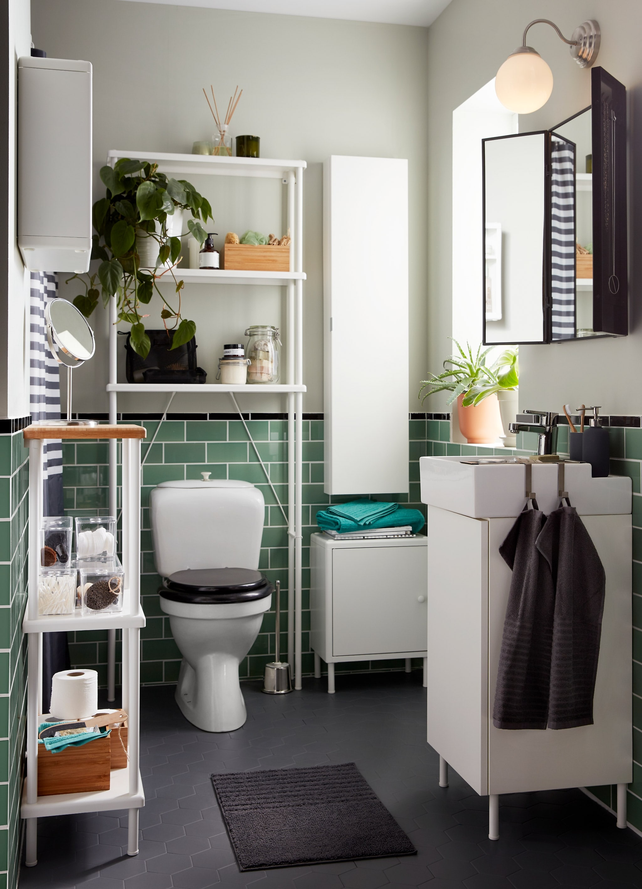 Picturesque Grey Bathroom Wall Of A Small With Green Tiles And A