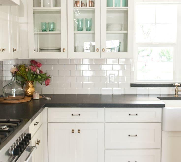 Subway Tile Kitchen Of White S Black S And White