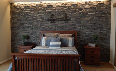 Superbealing Accent Wall Bedroom Of Created With Stacked Stone Textured Panels