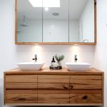 Terrific Bathroom Wall Vanity Of Recycled Timber With Matching Shaving