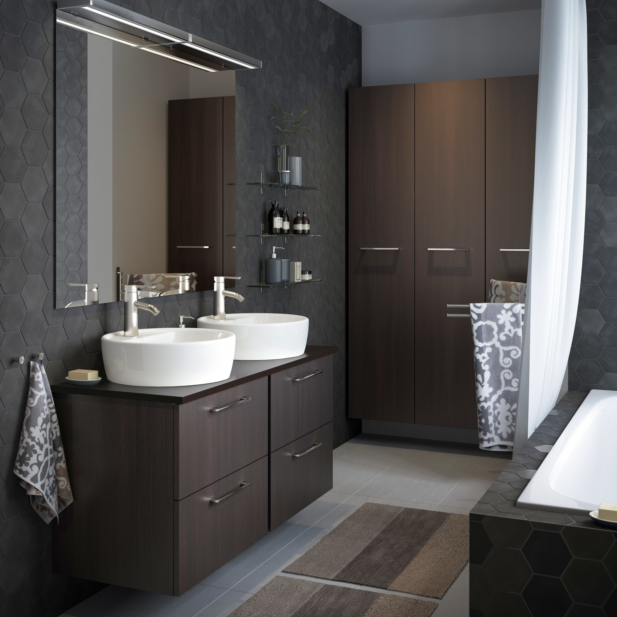 Unique Brown Bathroom Wall Of A Medium Size Grey With High