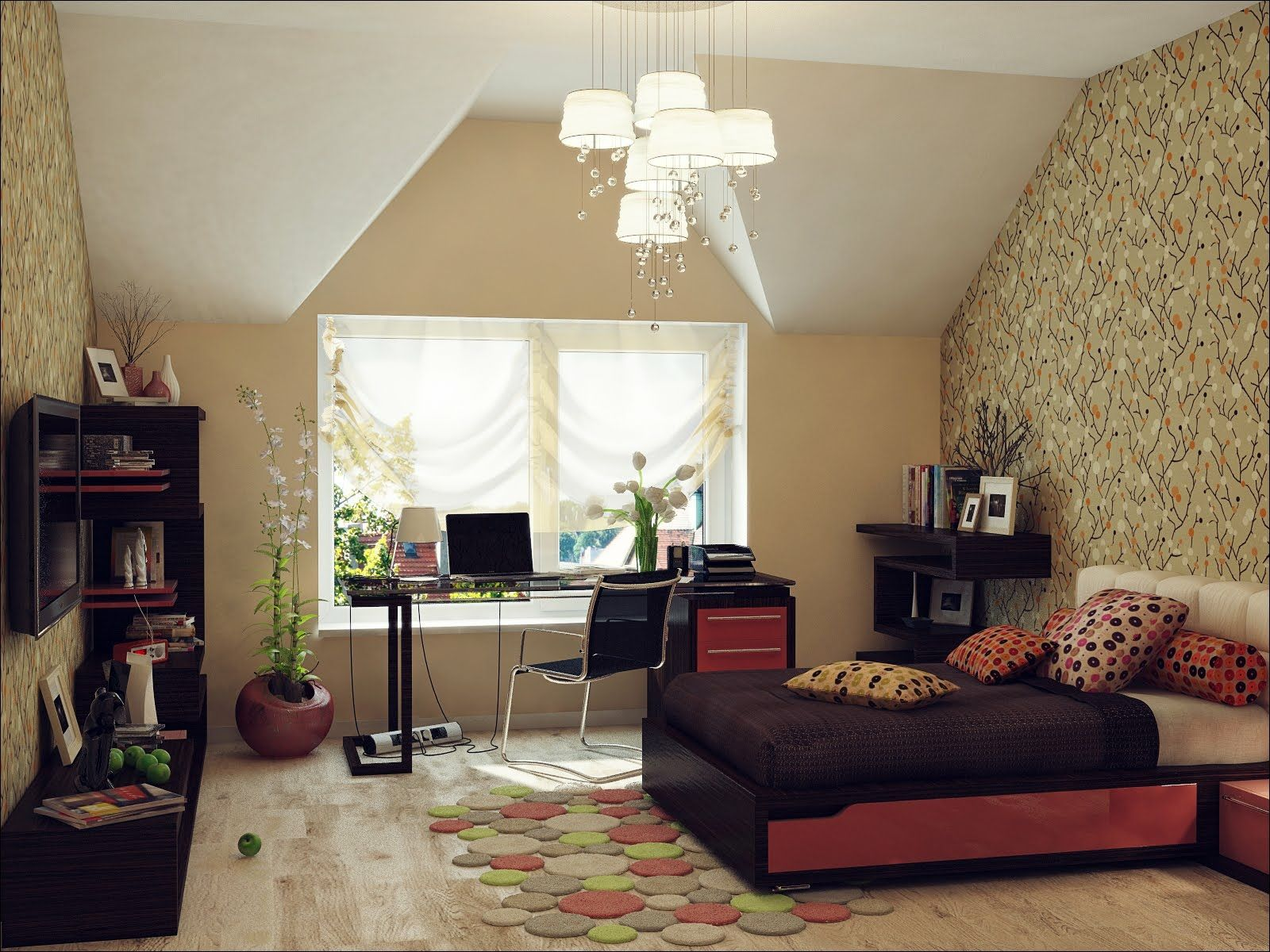 Vanity Attic Bedrooms With Slanted Walls Of Angle Ceilings Sloped Ceiling