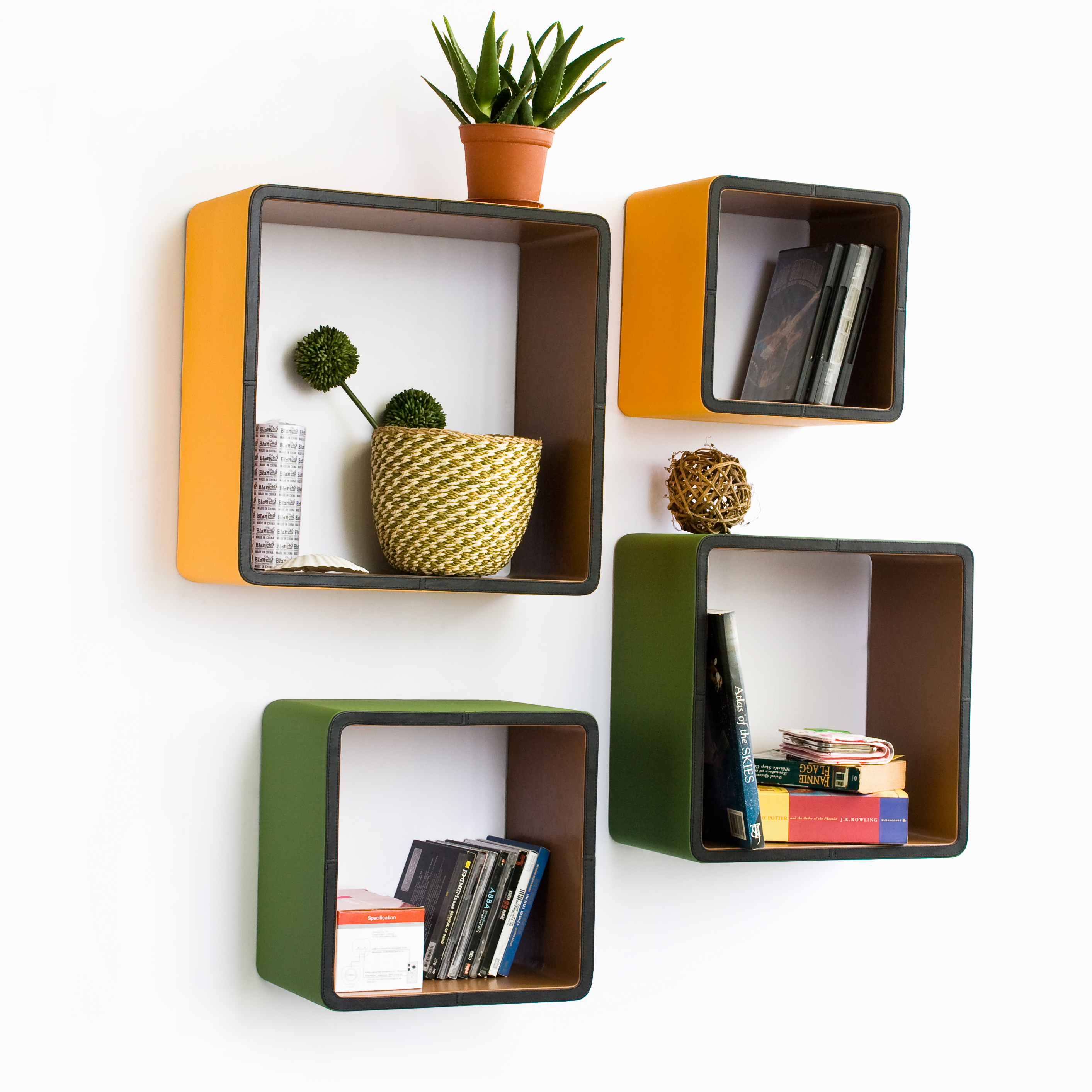 Vanity Bedroom Wall Shelves Of Interior Yellow And Green Cube Hanging