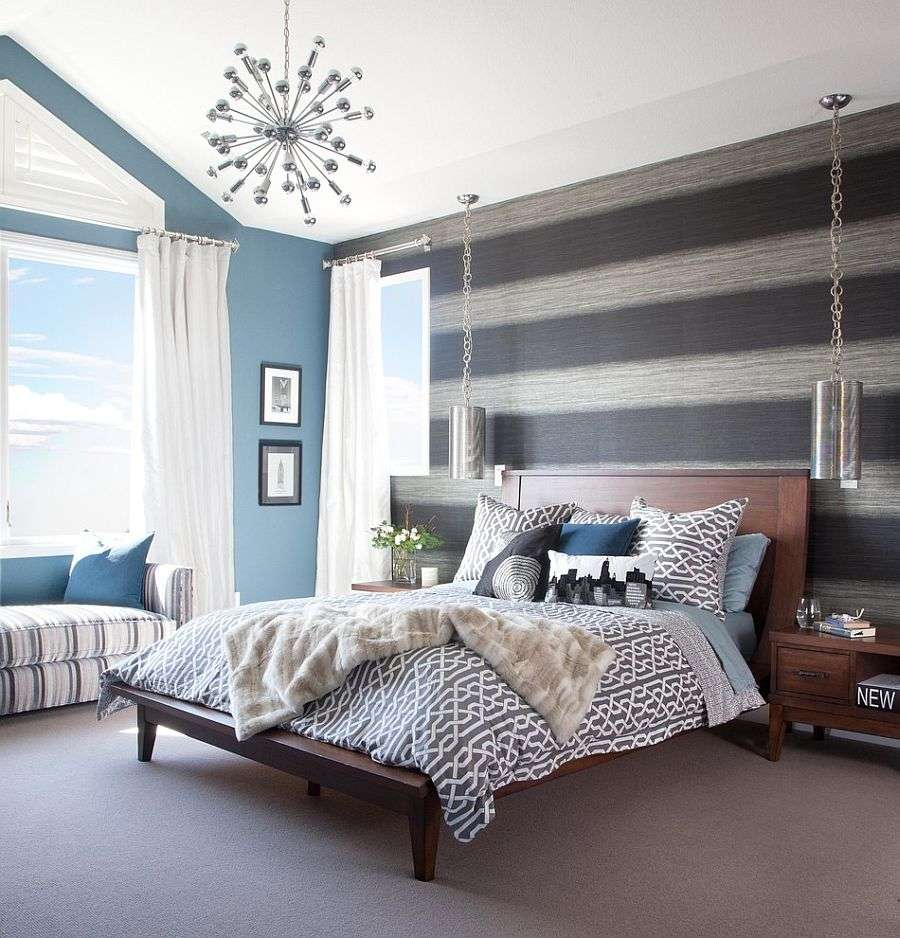 Vanity Dark Grey Bedroom Walls Of Awesome Trendy Bedrooms With Striped Accent