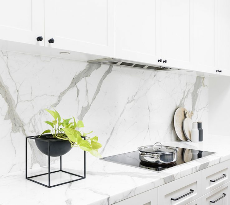 Vanity White Marble Kitchen Of Backsplash And Counter Via Home Adore