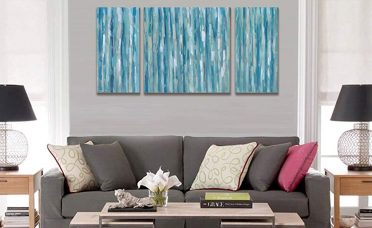 Wall Art Decor For Living Room Of Cubism Canvas Print Panels Blue Abstract