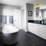 Wonderful Black Bathroom Walls And Simple And White Ideas