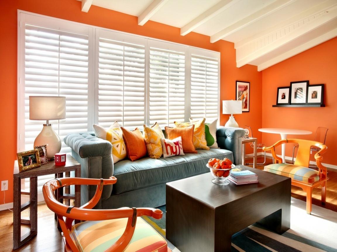 Wonderful Orange Walls Living Room Of Burnt