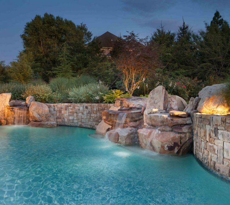 Alluring Swimming Pool Waterfall Designs Of Landscape Design For With Waterfalls Potomac Md