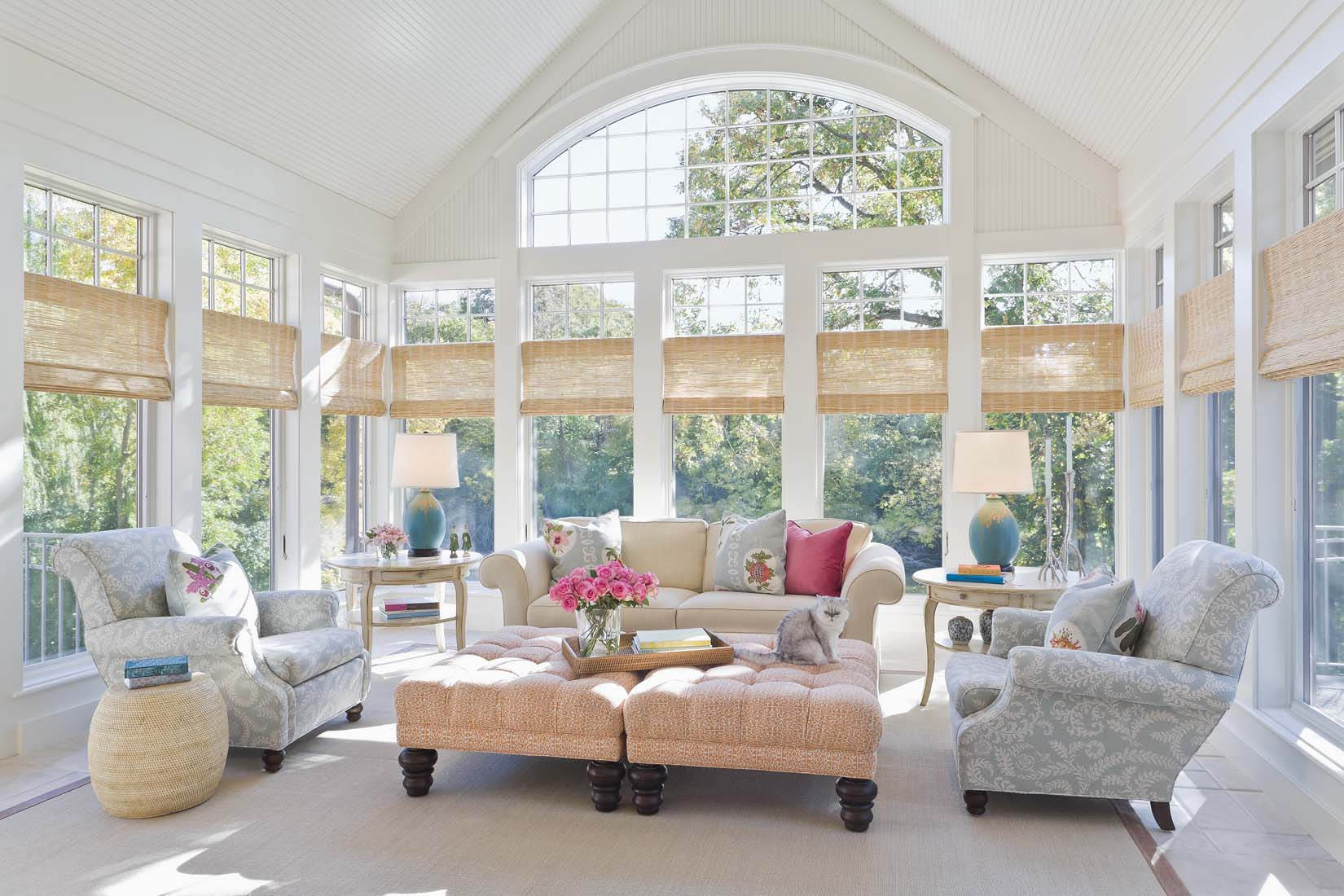 Amazing Beautiful Sunrooms Of White Sunroom With Pastel Colors And
