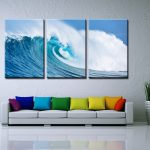 Amazing Modern Wall Painting Of Panels Painted Ocean Waves Oil