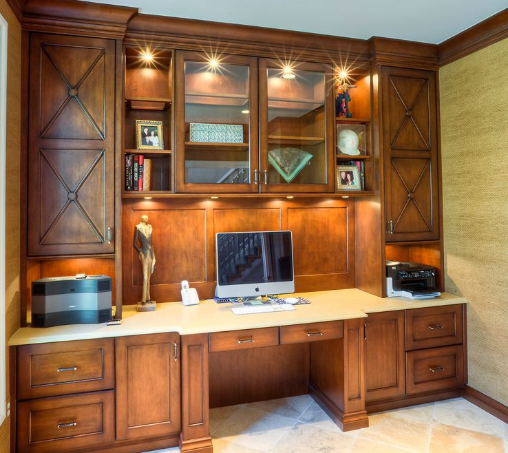 Artistic Built In Office Of Custom Home Design