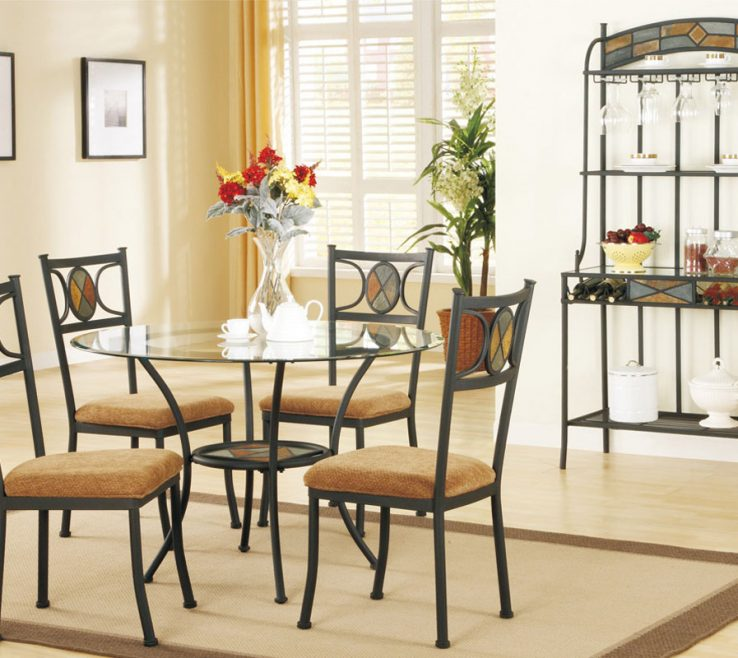 Astonishing Chairs With Storage Space Of Round Glass Dining Table E Black