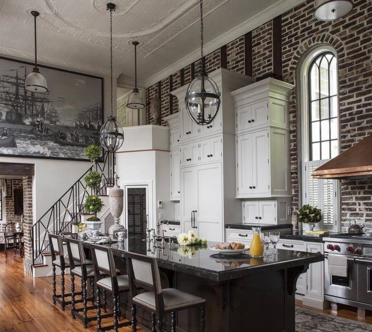 Astonishing Kitchen With Brick Wall Of Stunning Elevated Ceilings Exposed And A Metallic