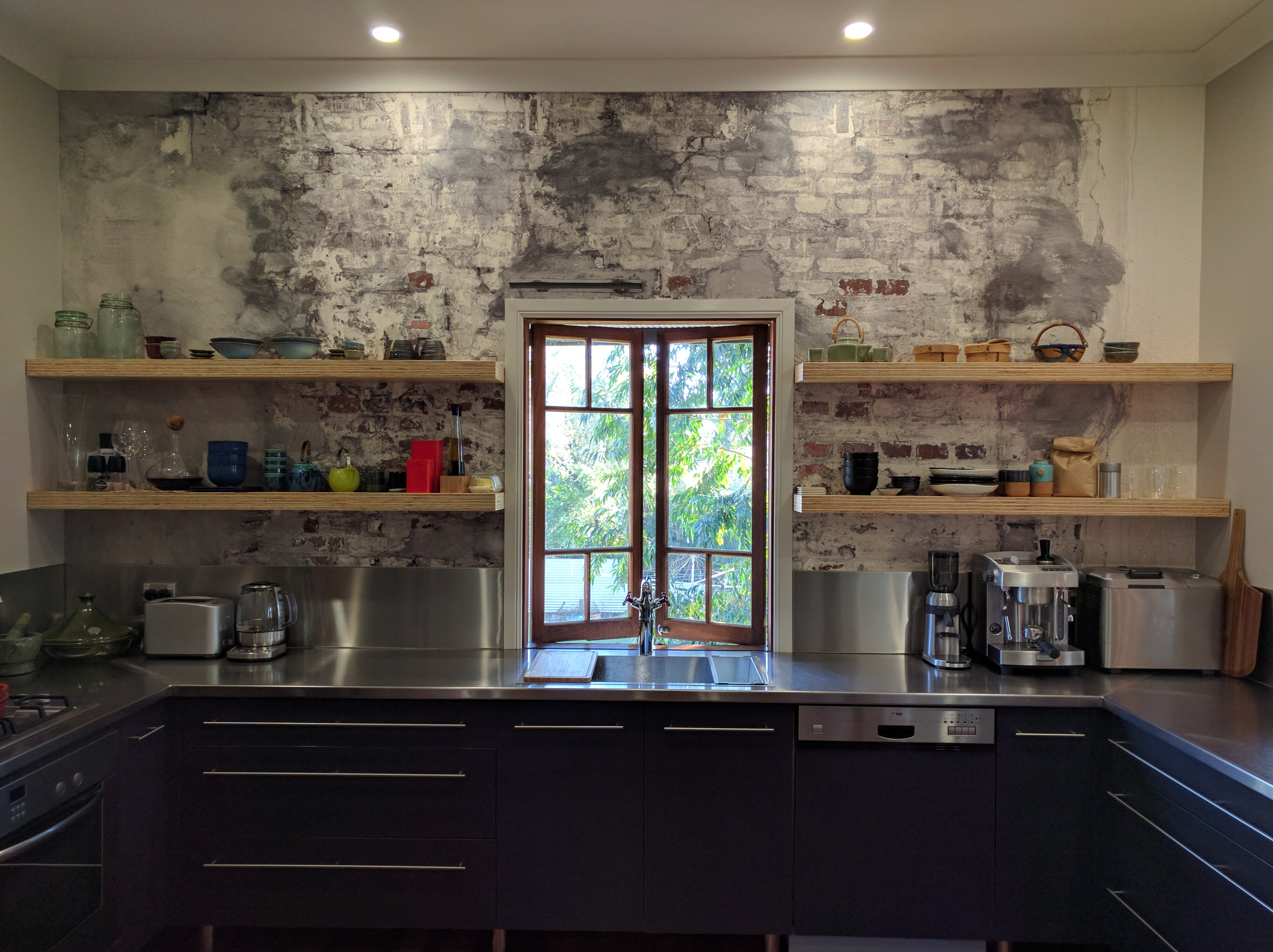 astounding exposed brick kitchen ideas of floating shelves on finer finishersfiner 657