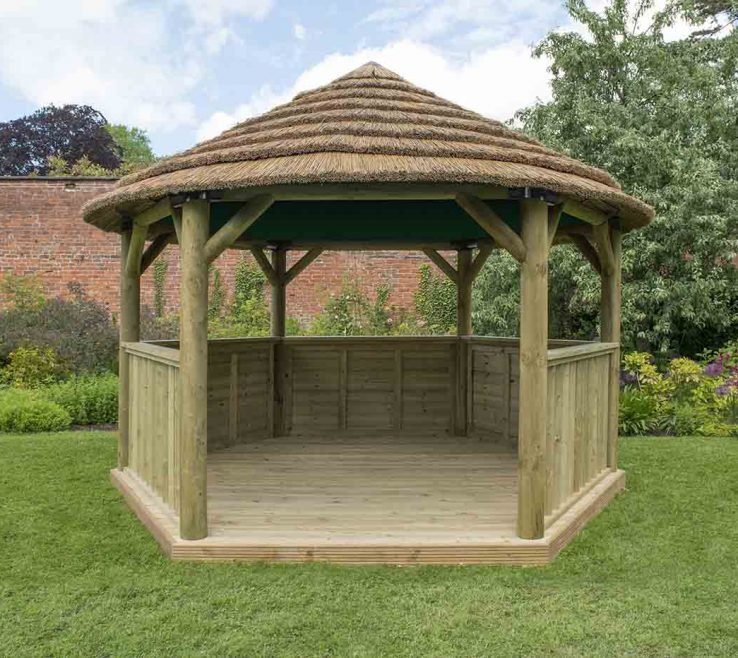Awesome Thatched Roof Gazebo Of Forest Garden M Hexagonal Garden