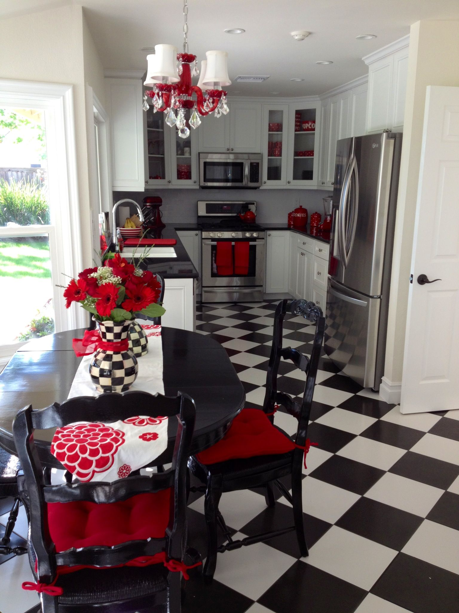 Brilliant Red And Black Kitchens Of My Fun Unique White Kitchen With Accents Acnn Decor
