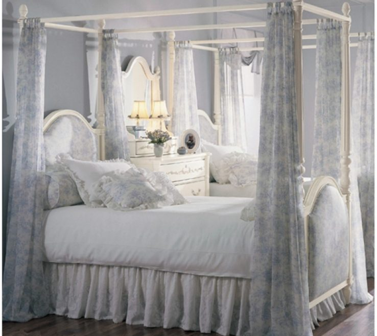 Brilliant Romantic Canopy Of White Bed With Thick Mattress In Drapery