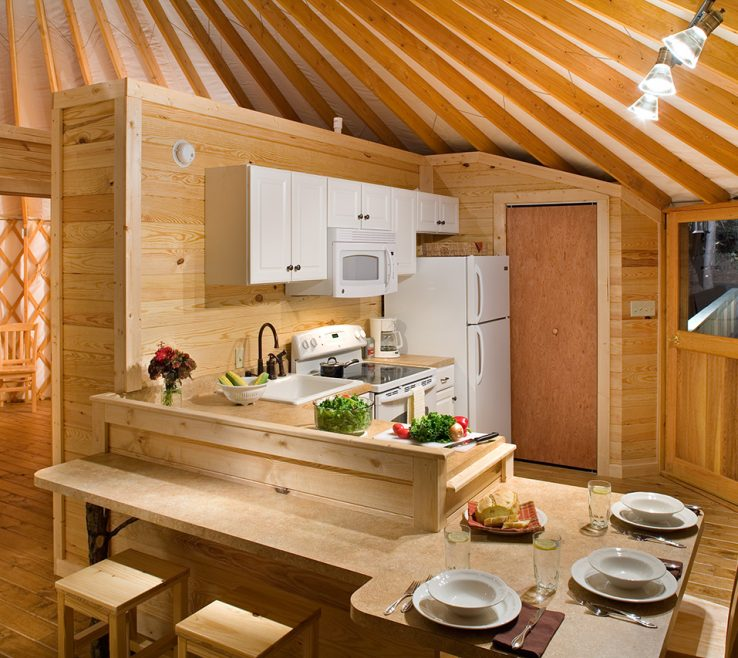 Captivating Interior Partition Wall Of Yurt Kitchen With Simple Lines