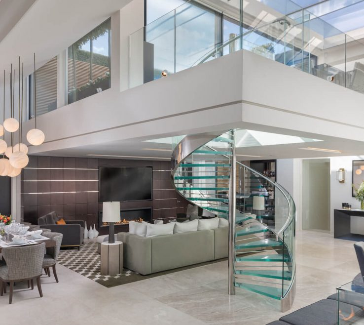Charming Contemporary Spiral Staircase Of Elegant Mayfair E With Sleek Glass