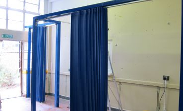 Curtain Wall Partition Ing Blue Folding Walls To Create Temporary
