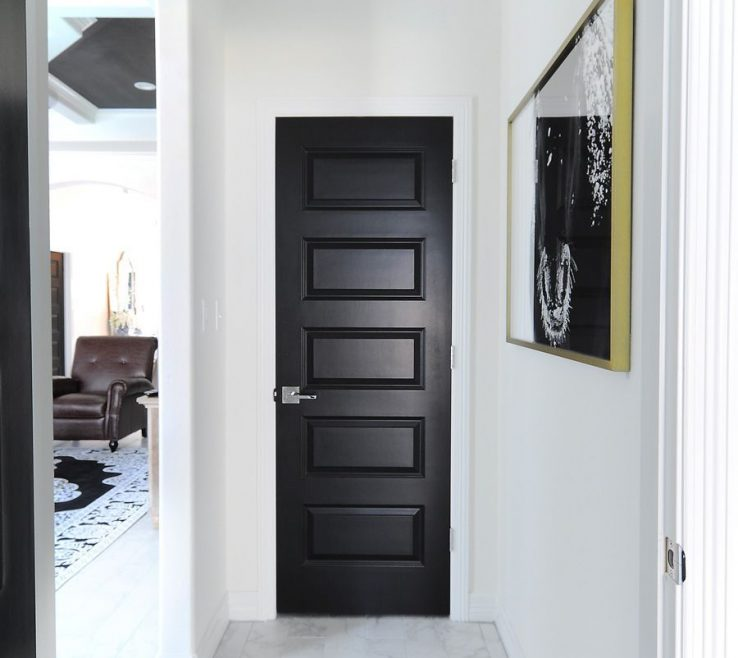 Elegant White Walls Black Ceiling Of Interior Doors Make A Bold Statement Against