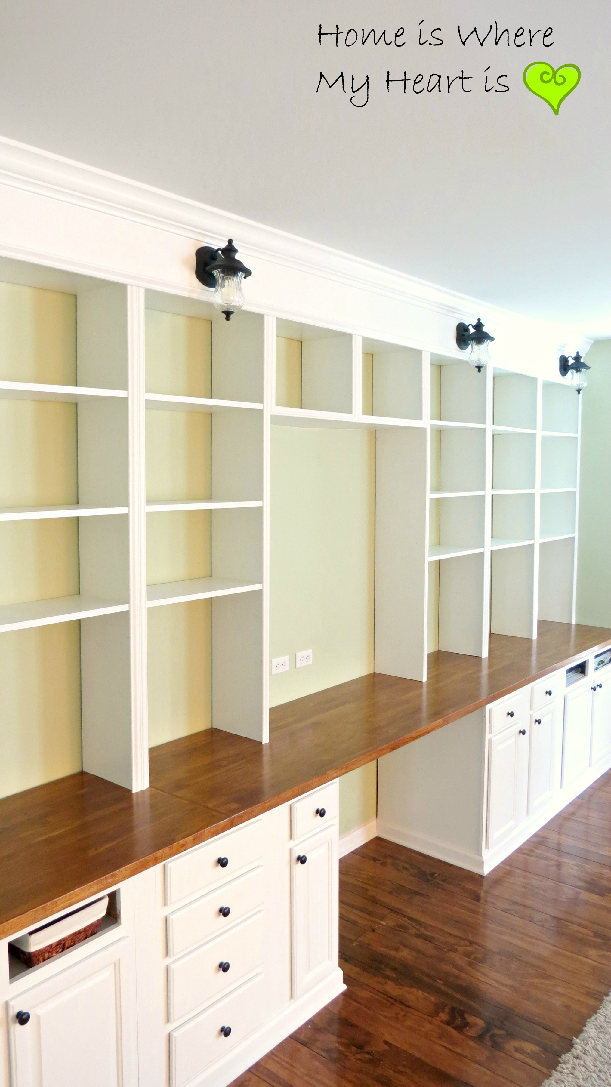 Enchanting Home Office Built Ins Of Wall To Wall Built In Desk And ...